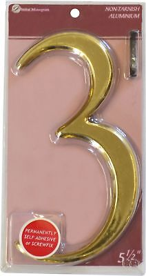 5 1/2 inch Gold Effect Numeral 3