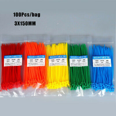 100pcs 3X150mm Self-Locking Cable Zip Ties Nylon Wire Cable Strap 5 Colors