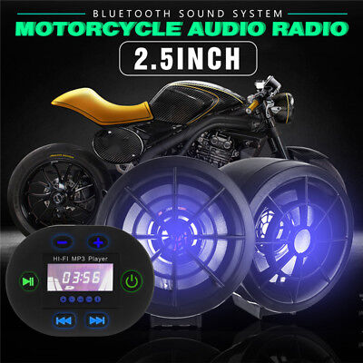 2.5Inch Motorcycle Bluetooth Audio Radio Sound System Stereo Speakers MP3 FM 12V