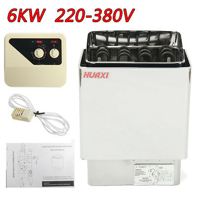 220V 6KW Wet & Dry Sauna Heater Stainless Steel Stove Controller Home Grade Spa