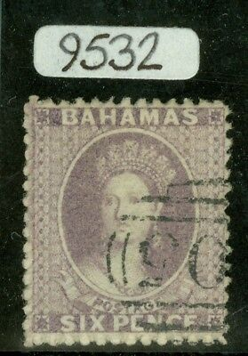 SG 19a Bahamas 1862. 6d lilac, no WMK, perf 13. Very fine used by a part 'A05'..