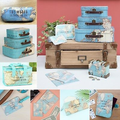 Sass Belle Vintage World Map Collection Suitcases Passport Lunch Bag Gifts