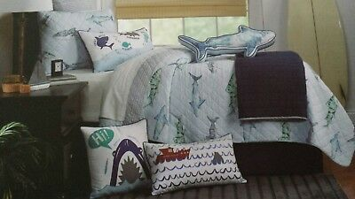 3PC SET Boat House Kids SHARK Aqua Blue FULL/QUEEN QUILT & PILLOW SHAMS Cotton