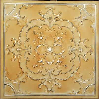 Ceiling tile faux tin old yellow gold saloon art decor wall panel PL19 10pcs/lot