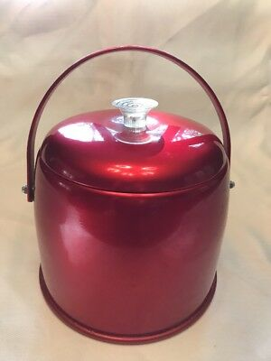 Vintage Mid Century Modern Red Acrylic Ice Bucket With Lid