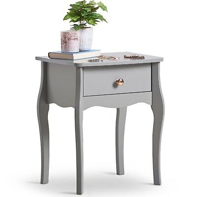 Beautify Grey 1 Drawer Bedside Table
