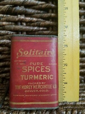 Antique Vintage 'solitaire' Spice Tin Turmeric Grocery Store Collectables