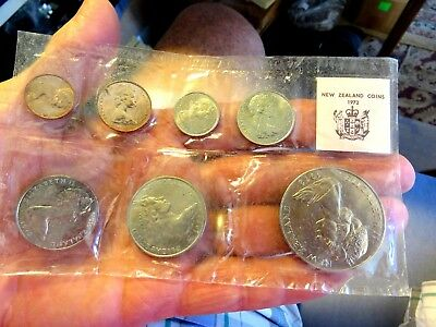 New Zealand 1972 Special Issue For Collectors 7 Coin Set Sealed Sleeve