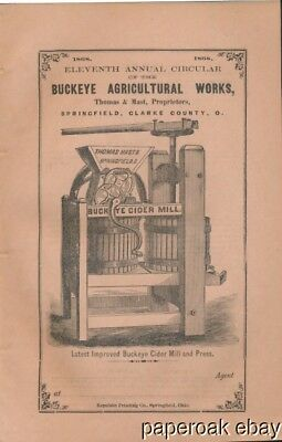 Original 1868 Buckeye Agricultural Works Springfield, Ohio Advertising Booklet