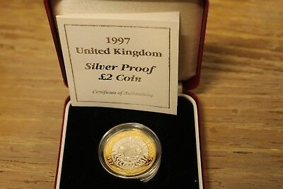 1997 United Kingdom Silver Proof 2 Pounds with COA & Box