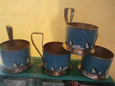 Russian Tea Glass Holders silver plate blue enamel  with penguins in Antarctica.