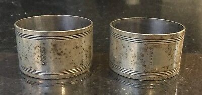 Vintage Pair Of Silver Plate EPNS A1 Plain & Simple Napkin Rings