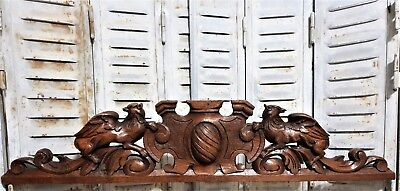 Architectural griffin chimera pediment Antique french carved wood salvage crest