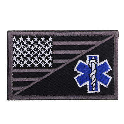 Paramedic Star of Life Pattern Embroidered Hook Loop Patch Clothes Decor 3#
