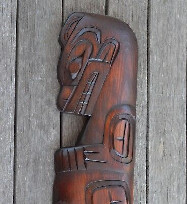 Bear Plaque Carving Richard Krawchuk Native American Wood Art Squamish Canada