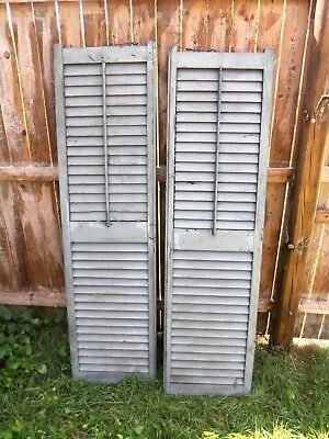 "2VINTAGE Old GREEN  LOUVER SHUTTERS Wooden 58"" x 15 1/2"" Architectural Salvage"