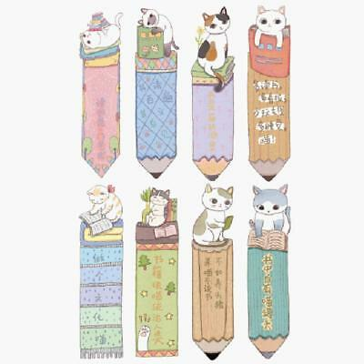 30PCS Cute Funny Cat Shaped Paper Bookmark Kids Gift Stationery Film Book Mark$