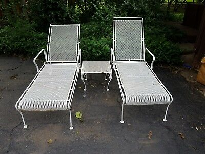 Vintage Mid Century Wrought Iron Chaise Lounges, Set of 2 with Table, Salterini