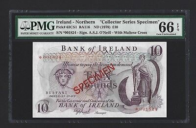 1978 Northern Ireland 10 Pounds Bank of Ireland Specimen PMG 66 EPQ UNC, P-63cs1