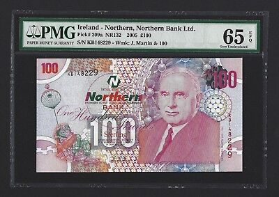 2005 Northern Ireland 100 Pounds, Northern Bank, PMG 65 EPQ GEM UNC, P-209s Rare