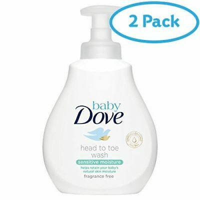 2 Packs of Baby Dove Sensitive Moisture Fragrance Free Head To Toe Wash200ml
