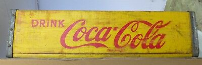 Vintage Wood COKE Coca Cola Soda YELLOW Crate Carrier  1966 l