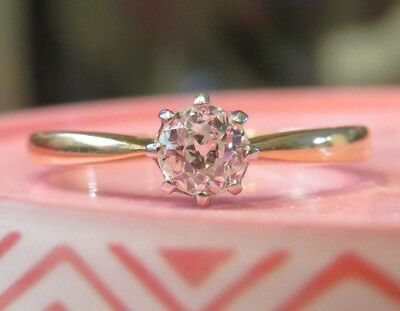 14K Antique Vintage Art Deco Old Mine Cut Diamond Solitaire Engagement Ring Wow
