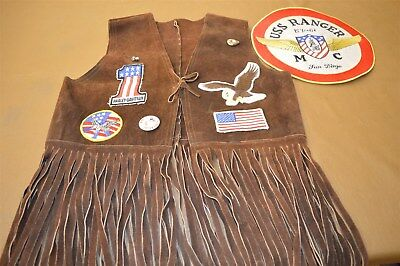 Vintage Motorcycle 1960's Brown Suede Biker Vest Cut Off Pins And Property Patch