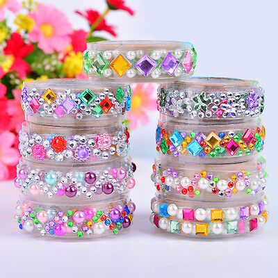 Jewelry Crystal Pearl Adhesive Washi Sticky Paper-Tape Diary Photo Sticker$