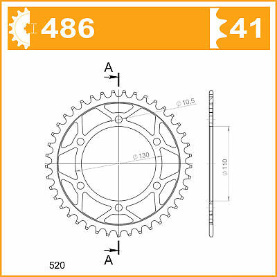 Afam Steel Rear Sprocket 41 Teeth 16500-41 eq JTR1486.41