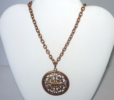 Bold Copper Filigree Medallion w Copper Greyhound or Whippet Dog,Copper Necklace