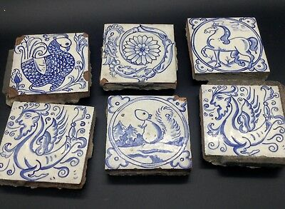 6 Hand Painted Blue Tiles Salvaged Italian-Style Vintage Animals Dragon Bird