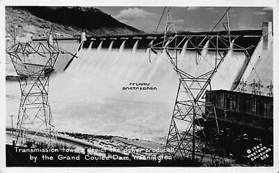 "Grand Coulee Dam, Washington, ""Transmission Tower"" Rppc Real Photo Postcard"
