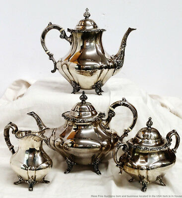 Reed Barton Georgian Rose Vintage Sterling Silver Tea Coffee Service 4Pc Set