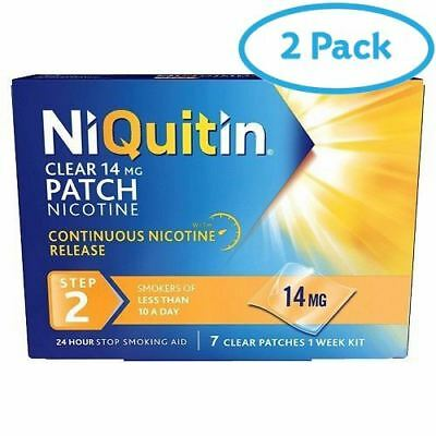 2 Packs of NiQuitin Clear 14mg 24 Hour Step 2 7 Clear Patches | AMAZON BANNED