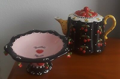 Mary Engelbreit Very Cherry Full Size Tea Pot and Candy Dish