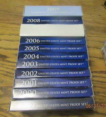 Pickers Delight Run of 11 US Mint Proof Sets 1999 to 2009 as issued   MF-