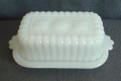 Vintage White Milk Glass Half Stick Butter Dish with Lid