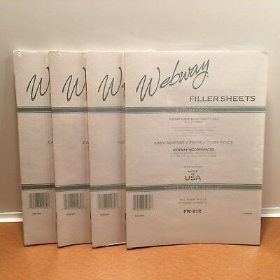 Lot of 4 New Packs Webway Filler Sheets FW-812 Each has 5 sheets/10 pages Sealed