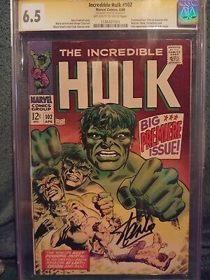 The Incredible Hulk #102 (Apr 1971, Marvel)CGC 6.5 Signed By STAN LEE