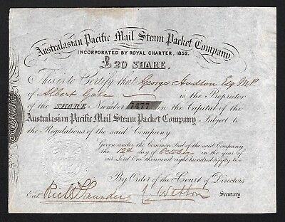 1852 Australia: Australiasian Pacific Mail Steam Packet Company