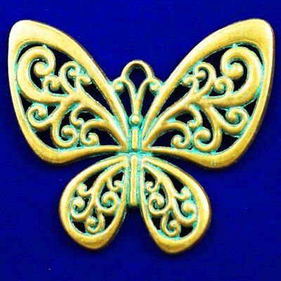 Carved Bronze Butterfly Pendant Bead 55x50x3mm X37320