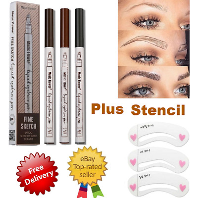 Microblading Tattoo Eyebrow Liquid Ink Pen Waterproof Fork Pencil Brow Definer