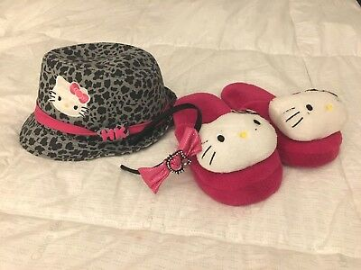 HELLO KITTY Lot of 3 Fedora Hat (one size) Slippers (Size 1/2) Headband
