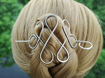 Celtic Hammered Copper Nickel silver Brass Hair Clip Hair Pin with Hair Stick