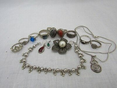 Lot of 14 Sterling Silver Rings Pendant Necklaces 61.93 Grams