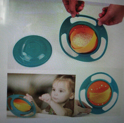 Spill-Proof Food Gyro Feeding Bowl Dish 360 Degree Rotate Lid Baby Children BN