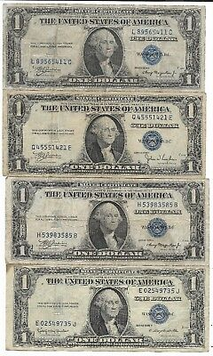 1935 US Blue Seal Silver Certificate One Dollar Bill Old Vintage Collection Lot