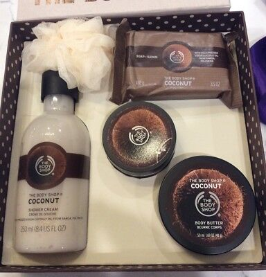 The Body Shop Coconut Gift Set Shower Cream Body Scrub/Butter Soap Loofah