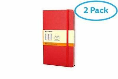 2 Packs of Moleskine red ruled notebook, A5, hard cover